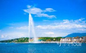Wycieczka szkolna do Szwajcarii - fontanna w Genewie