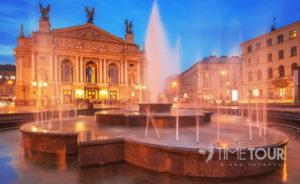 Wycieczka szkolna do Lwowa - opera i fontanna