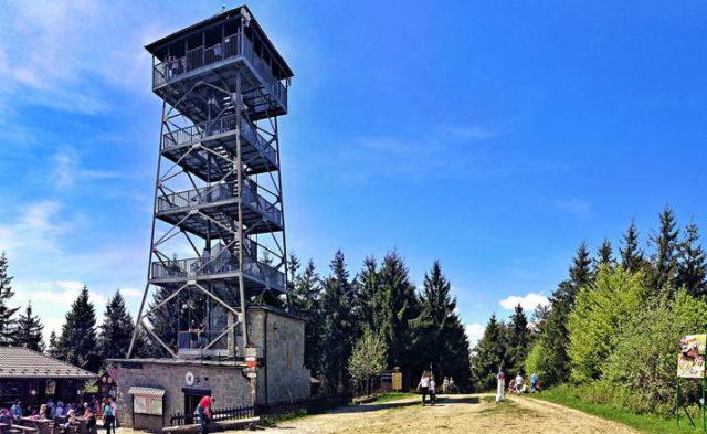 Wycieczka szkolna w Beskidy - wieża widokowa